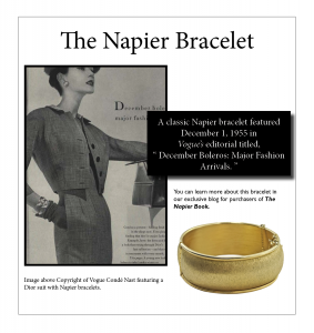 "A Napier ""Dolly Madison"" bracelet featured in the December 1955 Vogue editorial."