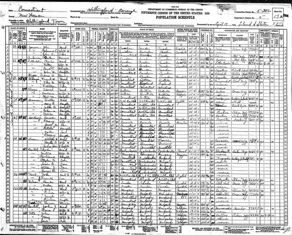 Wallingford Connecticut Census 1930 -- Stephan Bartek