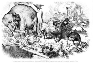 """The Third Term Panic: An ass, having put on the Lion's skin, roamed about in the forest, and amused himself by frightening all the foolish Animals he met with in his wanderings."" Thomas Nast, Harpers, 1874."