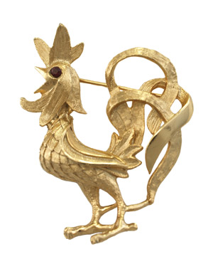 Napier Rooster Figural Pin
