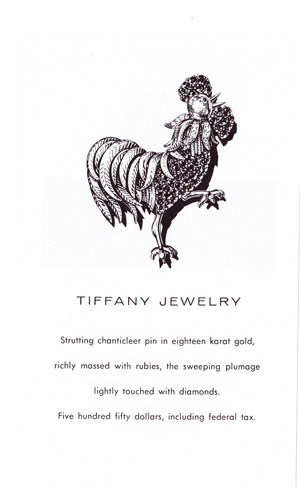 Tiffany Rooster Pin Advertisement