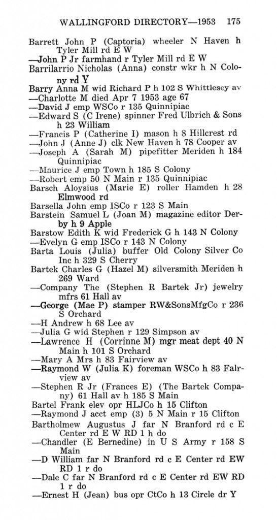 Wallingford City Directory -- 1953